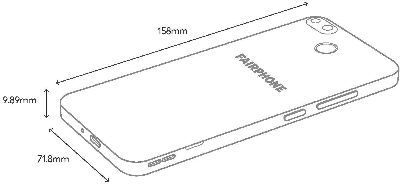 Dimensões do Fairphone 3